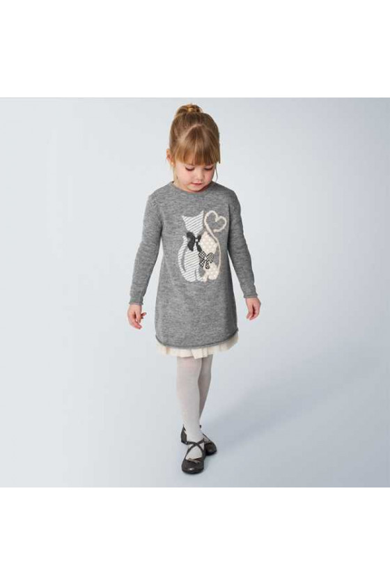 Vestido tricot combinado (talla 2 a 9 años)